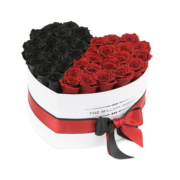 The Million Roses Europe - Heart - Black & Red Eternity Roses - White Box Delivered Anywhere in Europe