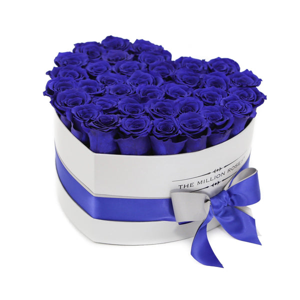 Heart - Blue Eternity Roses - White Box - The Million Roses Europe - Italia, France, Österreich, Deutschland, Espana