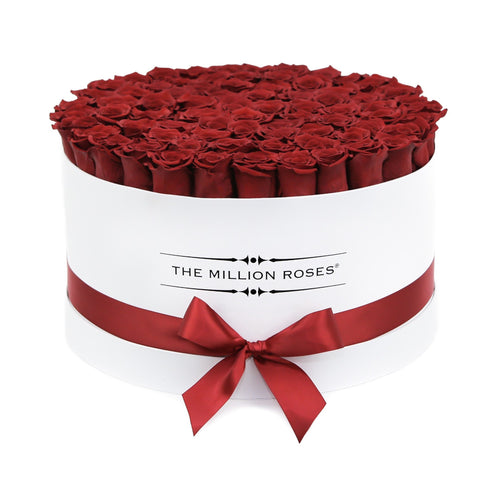 The Million Deluxe Box - Red XL Size Eternity Roses - White Box - The Million Roses Europe