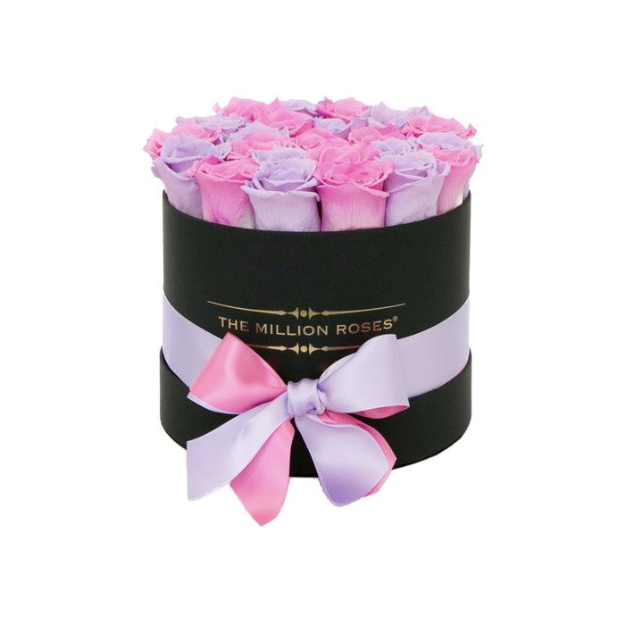 The Million Roses Europe - Small - Lavender & Candy Pink Roses - Black Box Delivered Anywhere in Europe