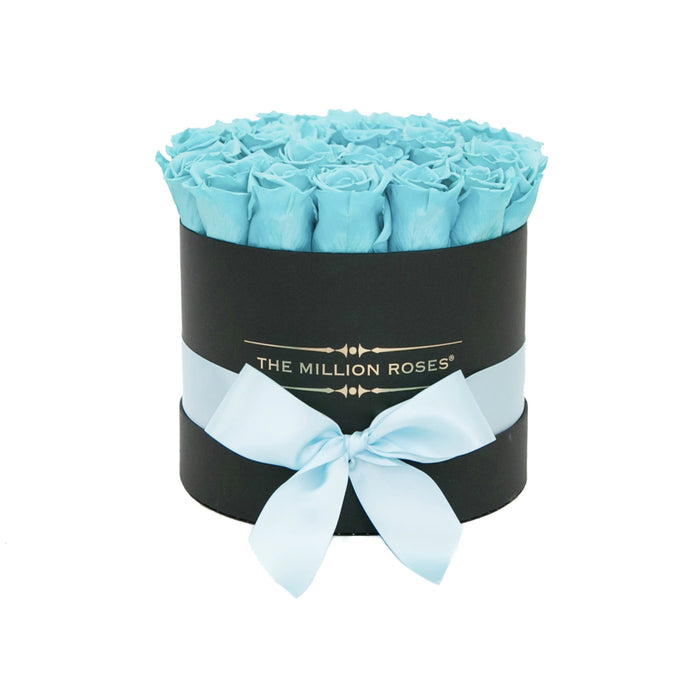 Small - Tiffany Blue Roses - Black Box
