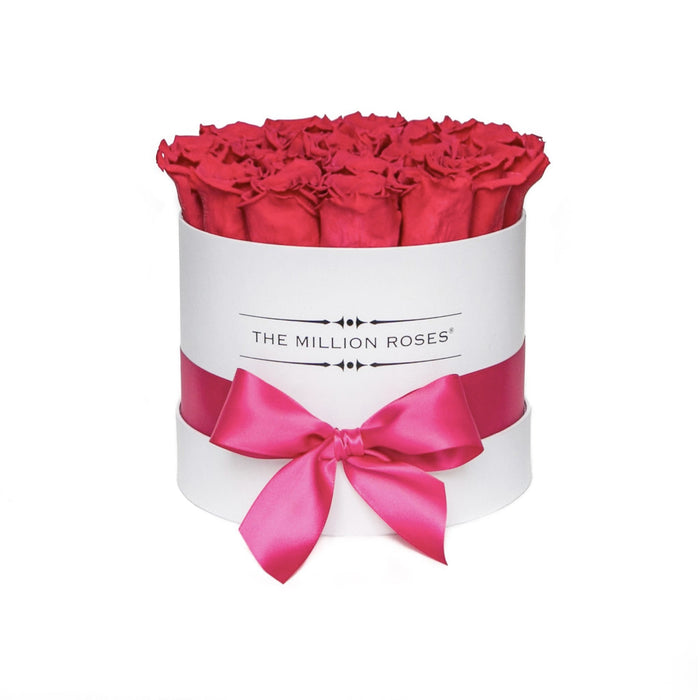 Small - Hot Pink Eternity Roses - White Box