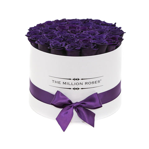 Premium - Deep Purple Eternity Roses - White Box - The Million Roses Europe