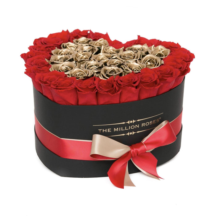 The Million Love Heart - Red/Gold Eternity Roses - Black Box