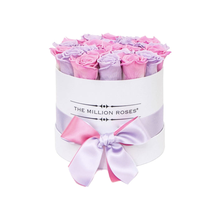 Small - Lavender & Candy Pink Roses - White Box