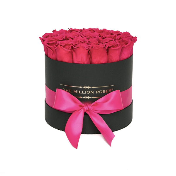The Million Roses Europe - Small - Hot Pink Eternity Roses - Black Box Delivered Anywhere in Europe