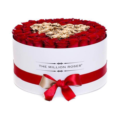 The Million Deluxe Box - Red Eternity Roses & Golden Heart - White Box - The Million Roses Europe