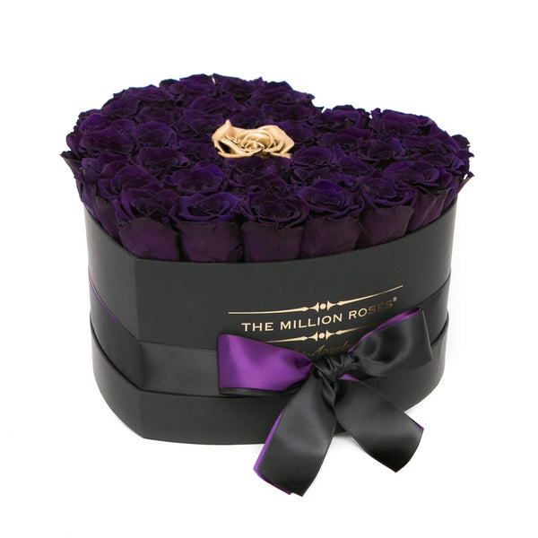 The Million Love Heart - Purple / Gold Eternity Roses - Black Box - The Million Roses Europe