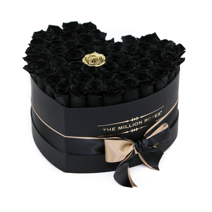 Heart - Black / Gold Eternity Roses - Black Box - The Million Roses Europe - Italia, France, Österreich, Deutschland, Espana