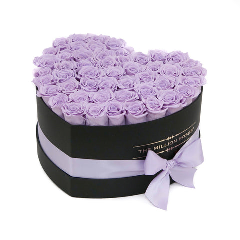 The Million Love Heart - Lavender Eternity Roses - Black Box - The Million Roses Europe
