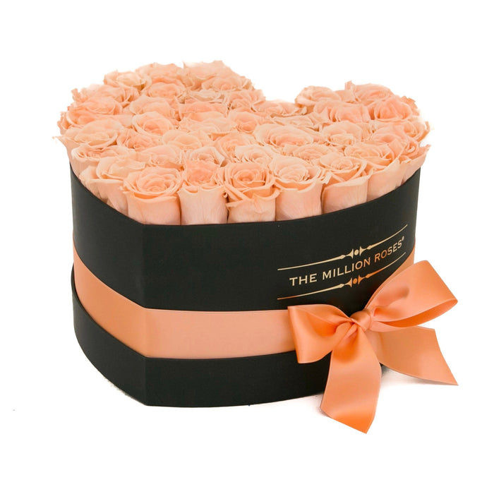 The Million Roses Europe - The Million Love Heart - Peach Eternity Roses - Black Box Delivered Anywhere in Europe