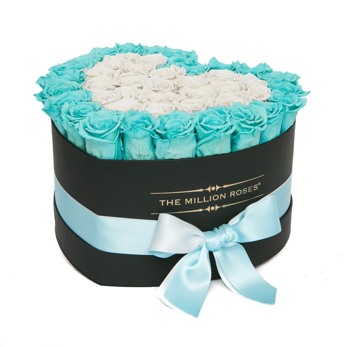 The Million Roses Europe - The Million Love Heart - Tiffany Blue & White Roses - Black Box Delivered Anywhere in Europe