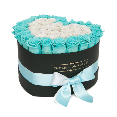 The Million Love Heart - Tiffany Blue & White Roses - Black Box - The Million Roses Europe