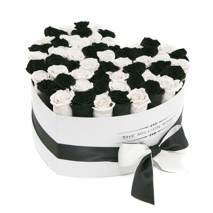 The Million Roses Europe - Heart - Black/White Eternity Roses - White Box Delivered Anywhere in Europe