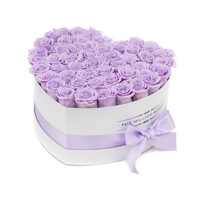 Heart - Levander Eternity Roses - White Box - The Million Roses Europe - Italia, France, Österreich, Deutschland, Espana