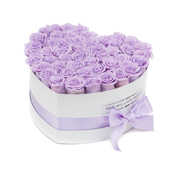 The Million Love Heart - Lavender Eternity Roses - White Box - The Million Roses Europe