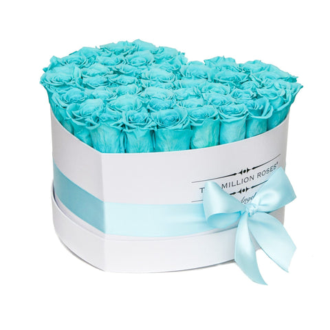 The Million Love Heart - Tiffany Blue Eternity Roses - White Box - The Million Roses Europe