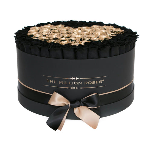 The Million Deluxe Box - Black Roses & Gold Eternity Heart - Black Box - The Million Roses Europe