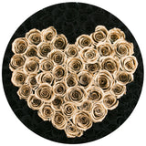 The Million Large Luxury Box - Black Roses & Gold Eternity Heart - Black Box - The Million Roses Europe