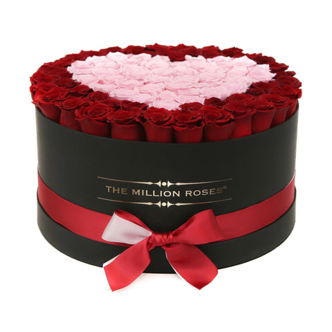The Million Deluxe Box - Red Eternity Roses & Pink Heart - The Million Roses Europe