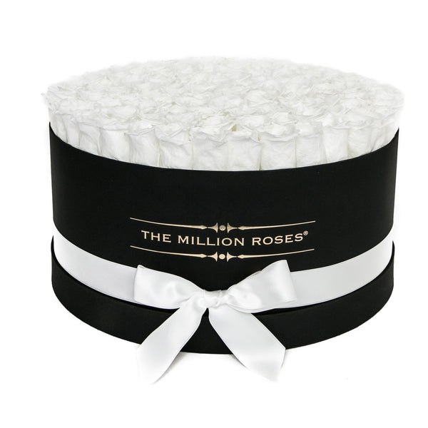 The Million Roses Europe - The Million Large Luxury Box - White Eternity Roses - Black Box Delivered Anywhere in Europe