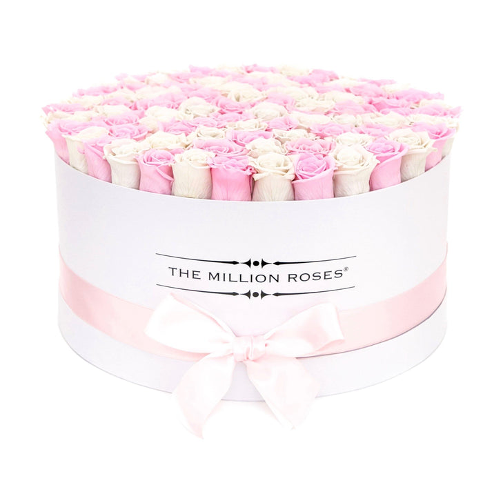 The Million Roses Europe - The Million Large Luxury Box - Candy Pink & White Eternity Roses - White Box Delivered Anywhere in Europe