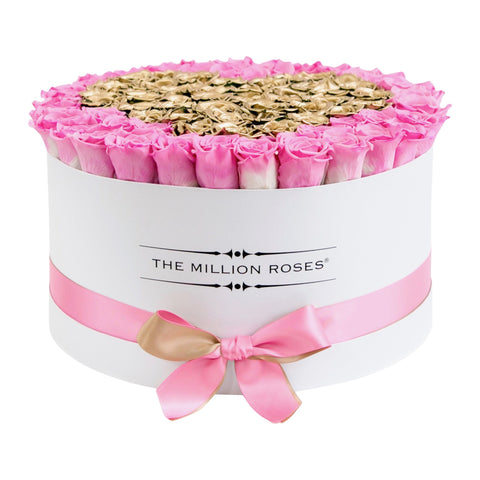The Million Large Luxury Box - Candy Pink & Gold Eternity Roses - White Box - The Million Roses Europe