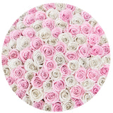 The Million Large Luxury Box - Candy Pink & White Eternity Roses - White Box - The Million Roses Europe