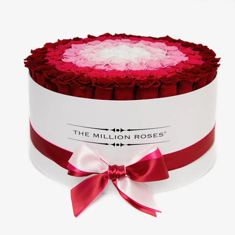 "The Million Deluxe Box - ""Target"" Red / Hot Pink / White Eternity Roses - White Box - The Million Roses Europe"