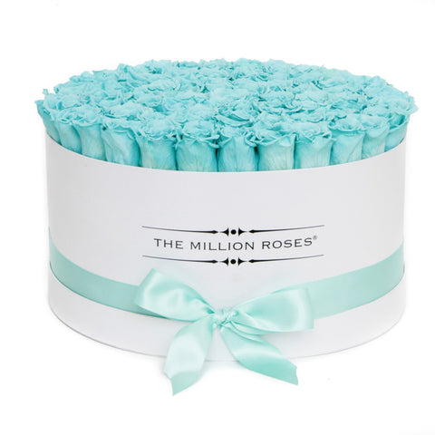 The Million Deluxe Box - Tiffany Blue Roses - White Box - The Million Roses Europe
