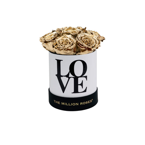 "The Million Basic - ""LOVE Collection"" White Limited Edition With Gold Roses - The Million Roses Europe"