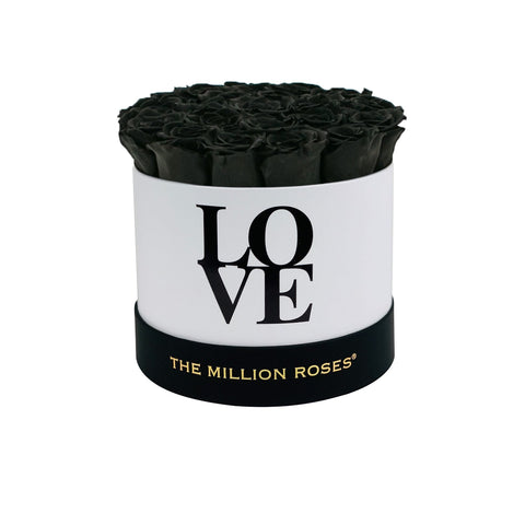 LOVE Classic White - Black Eternity Roses - The Million Roses Europe