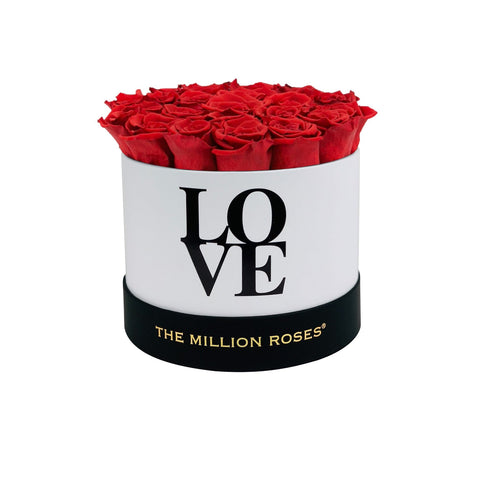 LOVE White Classic - Red Eternity Roses - The Million Roses Europe