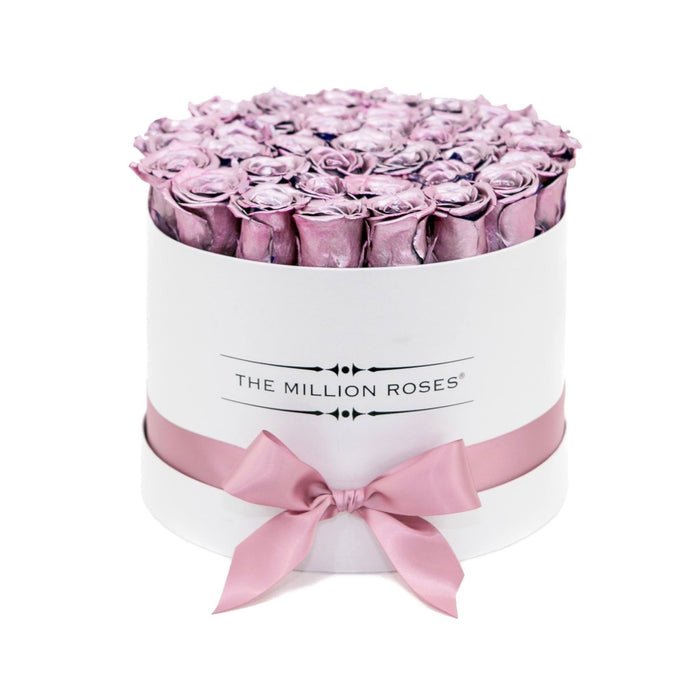 The Million Roses Europe - Medium - Metal Pink Eternity Roses - White Box Delivered Anywhere in Europe