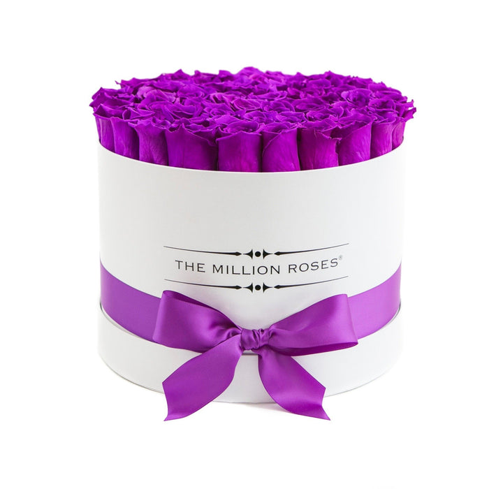 Medium - Purple Eternity Roses - White Box - The Million Roses Europe - Italia, France, Österreich, Deutschland, Espana