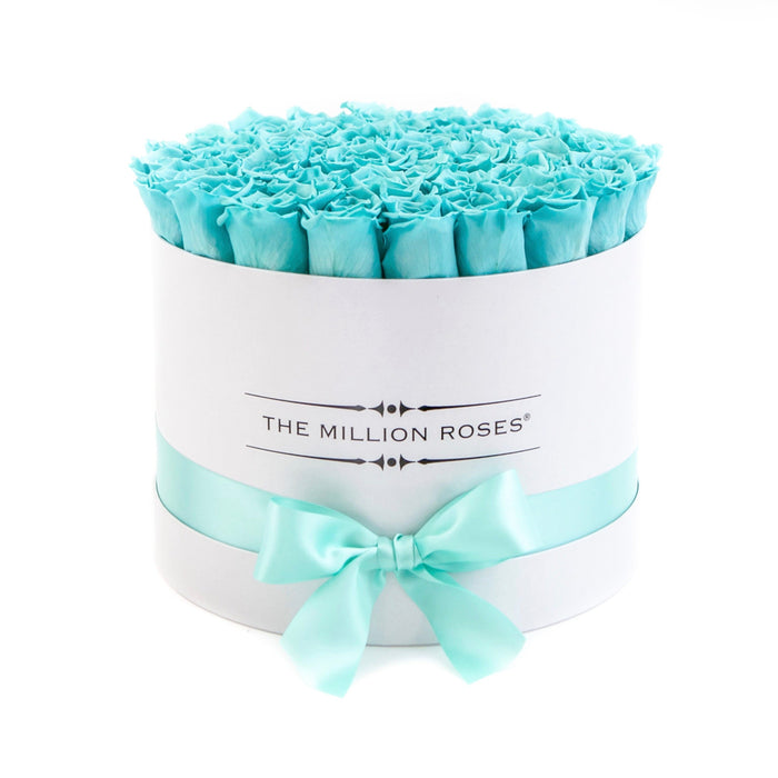 Medium - Tiffany Blue Roses - White Box - The Million Roses Europe - Italia, France, Österreich, Deutschland, Espana
