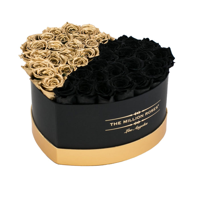 The Million Love Heart - Black & Gold Eternity Roses - Black & Gold Box