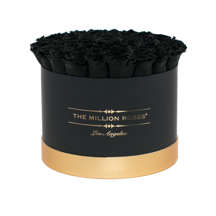 Medium - Black Eternity Roses -  Black & Gold Box