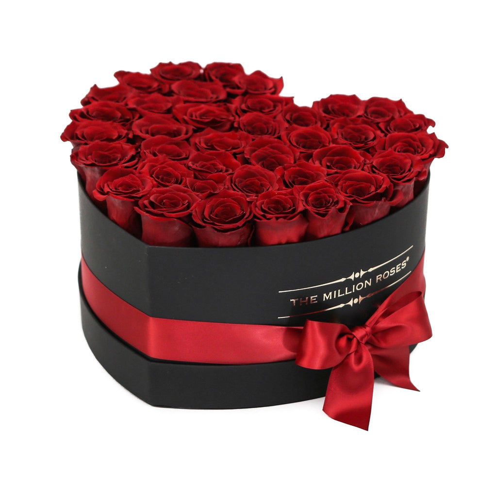 the million roses europe the million love heart red eternity roses black box. Black Bedroom Furniture Sets. Home Design Ideas