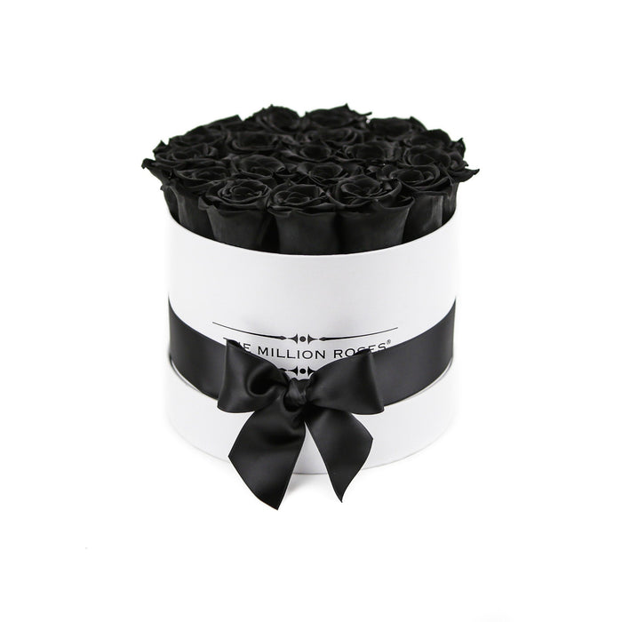 Small - Black Eternity Roses - White Box