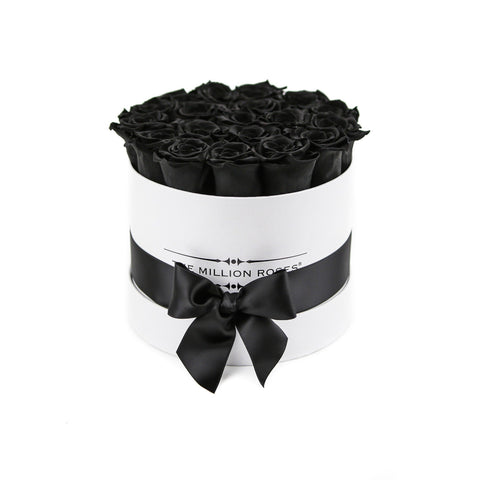 Small - Black Eternity Roses - White Box - The Million Roses Europe