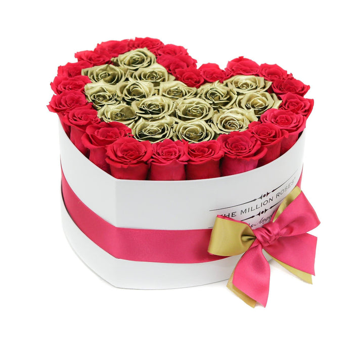 The Million Roses Europe - The Million Love Heart - Hot Pink/Gold Eternity Roses - White Box Delivered Anywhere in Europe