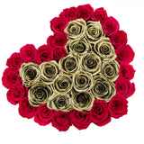 The Million Love Heart - Hot Pink/Gold Eternity Roses - White Box - The Million Roses Europe