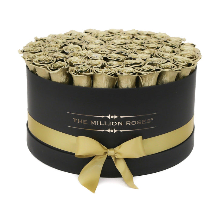 The Million Roses Europe - The Million Large Luxury - Gold Roses - Black Box Delivered Anywhere in Europe