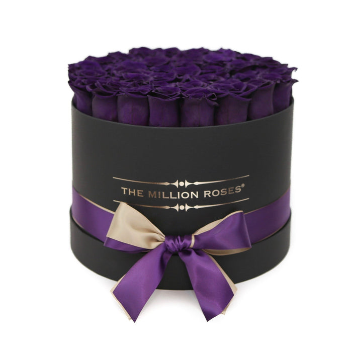The Million Roses Europe - Medium - Dark Purple Eternity Roses - Black Box Delivered Anywhere in Europe