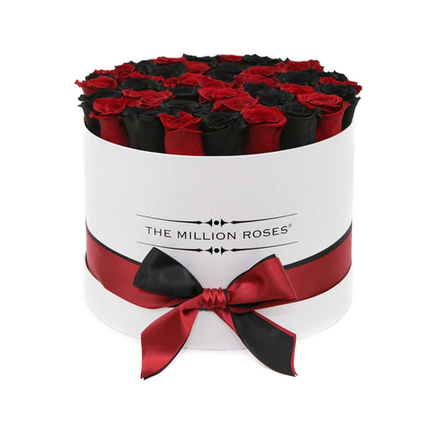 Premium - Red & Black Eternity Roses - White Box - The Million Roses Europe