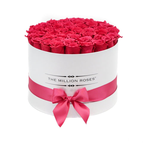 Premium - Hot Pink Eternity Roses - White Box - The Million Roses Europe