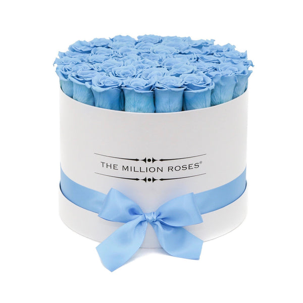 The Million Roses Europe - Medium - Light Blue Eternity Roses - White Box Delivered Anywhere in Europe