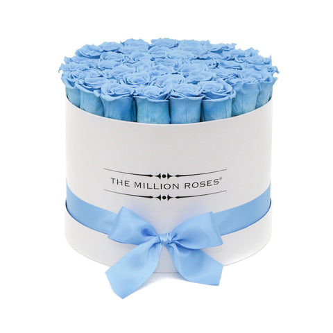 Premium - Light Blue Eternity Roses - White Box - The Million Roses Europe