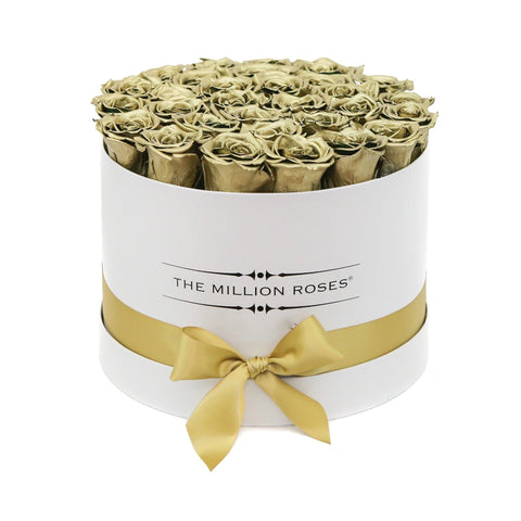 Premium - Gold Eternity Roses - White Box - The Million Roses Europe